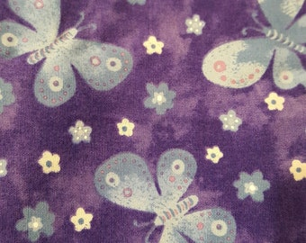 Purple floral with butterfly fat quarter