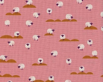 Cotton + Steel Panorama Sunrise - Sheep in Coral - Pink Sheep Fabric - Farm Animal Fabric - Unbleached Quilting Cotton - By the Yard