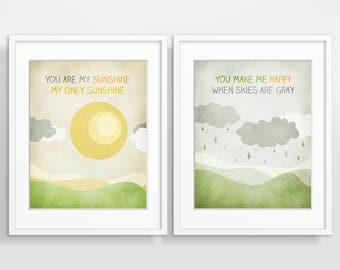 You Are My Sunshine Wall Art Print Set of 2, Nursery Decor Girl Boy, Baby Shower Gift, New Baby Gift, Nursery Print Set, Nursery Art Prints
