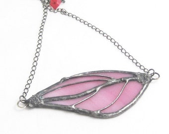 Pink Glass Statement Pendant | Stained Glass | Bohemian | Gift Under 50 | Gift for Women | Chain Necklace