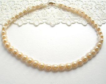 Pearl necklace, Victorian style, hand made, vintage, beads,cream colour