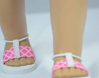 American Girl 18 inch doll SANDALS SHOES Flipflops in Pink White Diamond Pattern with Ankle Strap