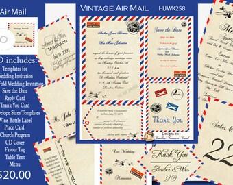 Air Mail Wedding Invitation Kit on CD