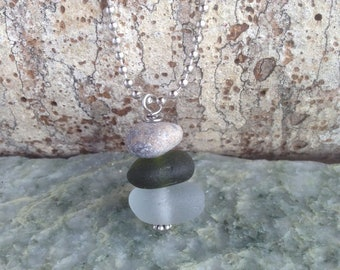 Cairn Necklace Rock Pebble and Sea Glass - Hiking Jewelry - Find Your Way