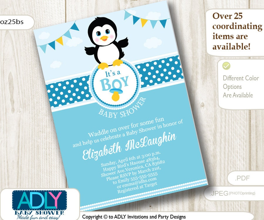 Excellent Penguin Baby Shower Invitations Photos - Invitation Card ...