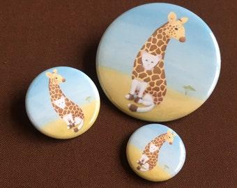 White Cat Giraffe Costume Illustration: Pinback Button or Refrigerator Magnet /Cat Pin/Cute/Cat Art/Cat Accessories/Cat Lover/Cat Lover Gift