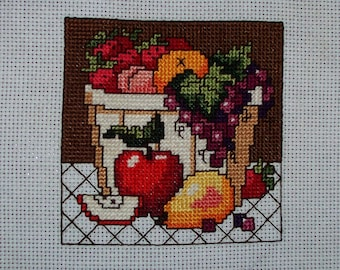 """Completed Count Cross Stitch """"Bowl of Fruit #2"""""""