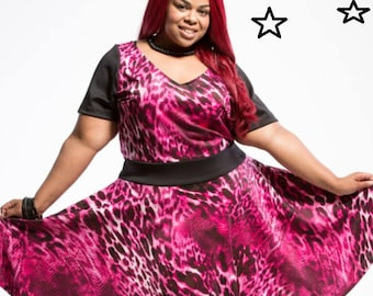 SALE Plus Size Dress Pink Cheetah Scuba Womens Knit Dress, Cheetah Full Skirt Dress, Plus Size Dress, Pink Knit Plus Size Dress