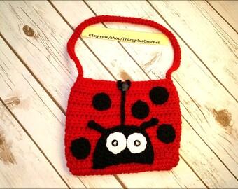 Ladybug purse. Child ladybug purse. Crochet Ladybug bag. Crochet Ladybug purse. Handmade Ladybug purse.