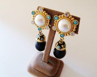 BARRERA for AVON Roman Holiday Pendant Clip Earrings, Jose Maria Barrera Onyx Pendant Earrings, Statement Earrings