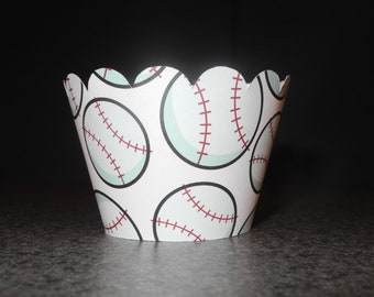 Baseball Cupcake Wrappers- Set of 12