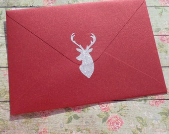 18 gold glitter Deer stickers, Christmas stickers, gold envelope seal,  animal stickers, stag head stickers, invitation seal, hunting