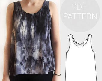 Womens basic loose fit woven vest / tank top. | PDF printable sewing pattern. | UK sizes 4-18 (US 0-14) | Instant Download.