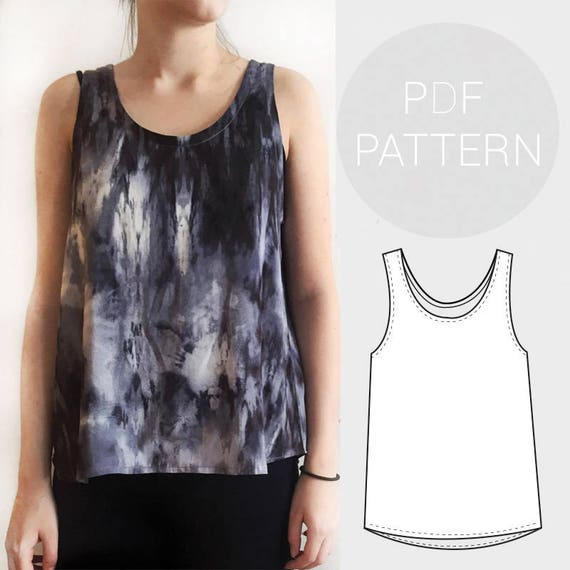 Womens basic loose fit woven vest / tank top.   PDF printable sewing ...