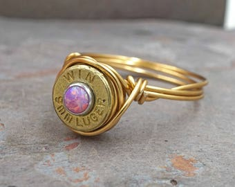 9mm Brass Bullet Opal Wire Wrapped Gold Ring