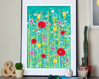 "Large Poppy Field Art Print 24""x34"""