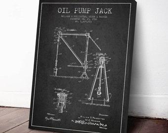 1916 Oil Pump Jack Patent, Canvas Print, Wall Art, Home Decor, Gift Idea, PFEN10C