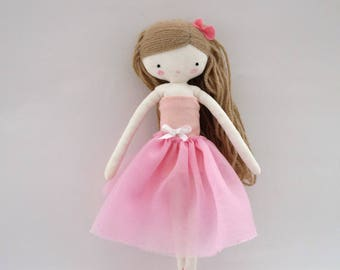 Ballerina rag doll - plush toy cloth art doll ballerina in pink tutu dancer ballet ooak made to order