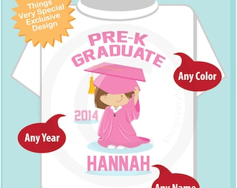 Pre K Shirt, Pre-Kindergarten Graduate Shirt, Personalized for your little girl with year, name and color 04222014a