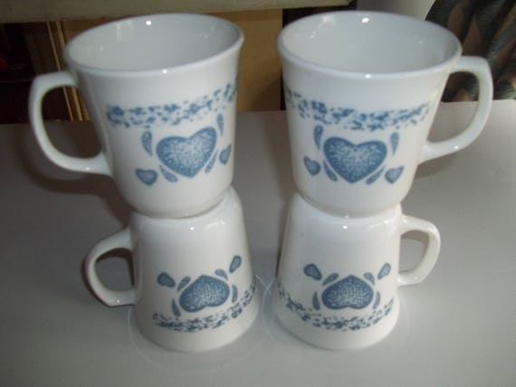 4 Corelle Blue Hearts Mugs Cups
