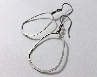 Large Abstract Sterling Silver Hoop Earrings