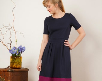 "Dress ""Elisa"", in dark-blue and magenta"