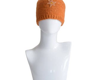 Vintage Hats, Knit Hat, Beanie Hat, Orange Hat, 1990s, Floral Hats, Women's Hats, Winter Hat, Hand Knit Hat, Wool Hat, Gift For Her, Nepal