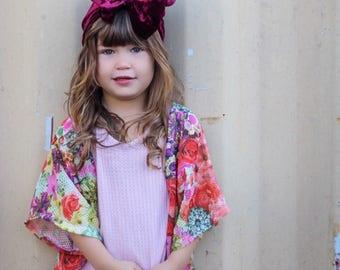 Floral Beehive Kimono/ Toddler Kimono/ Girls Kimono/ Baby Kimono/ Boho/ Bohemian/ Urban/ Light Sweater/ Babyshower/ Birthday/ Gift/ Present