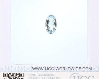 Aquamarine - Certified Oval Faceted 3.69ct Pale blue Transparent Aquamarine 13x8mm Loose Gemstone