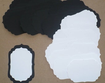 Black / White 2 different sizes Die cut Shapes for Layering Cardstock made from Spellbinder Dies