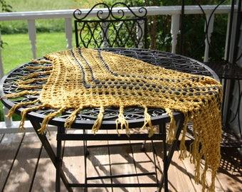 Braided Fringe Crochet Triangle Scarf