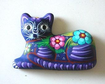 Hand painted cat fridge magnet, stocking filler stuffer, purple kitten, gift, childrens magnet, terrecotta flowery cat