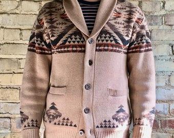 Pendleton Shaw Collar Cardigan-Mens size M-Good Condition- %100 Lambs wool