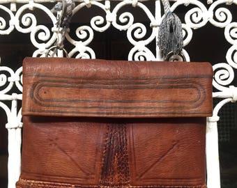 Brown Vintage Moroccan 100% Leather Bag