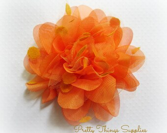 Orange Organza and Tulle Flower. 1 PC.