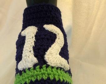 Handmade Seahawks inspired crochet dog/cat sweater