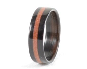 Wood Ring - Natural Coral and Wood Ring - Bentwood Ebony Ring with Coral Inlay - Wedding Ring, Wedding Band, or Engagement Ring -  Handmade