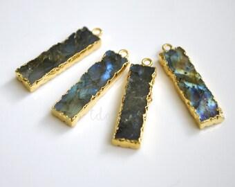 Smooth Polished Labradorite Gold Electroplate Pendant, Gold Labradorite Vertical Stone Bar