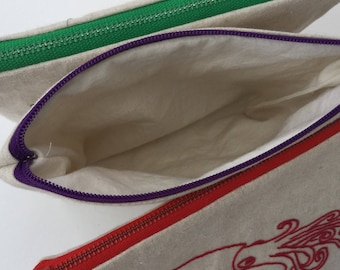 Hand Embroidered Squid Zipper Cosmetics Makeup Project Bag
