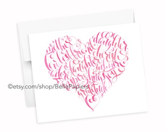 Mother's Day Card Heart Greeting Card  Print Mother Daughter Best Friend Love Hugs Laughter Cherish Mom Mothers Day Gifts Mother's Day Card