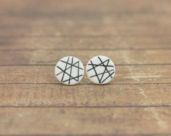 White earrings, Black and white, Unique stud earrings, White studs, Flat earrings, Small stud earrings white, Minimal earrings, Modern studs