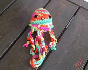 Crochet neon multi-colored jellyfish