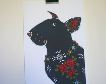 """Large Canal Boat Style English Bull Terrier -Folk Art Dog print - """"The Bargee's Dog"""""""