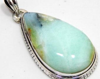 Peruvian Blue Opal Pure 925 Sterling Silver Handmade Jewelry Pendant 9 Gm Genuine Top Quality Peruvian Blue Opal Stone Vintage Style Pendant