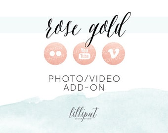 Rose Gold Foil Social Media Icons | Photo & Video Add-On Pack