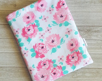Soft Floral Book Sleeve Story Sleeve -book sleeve, tablet sleeve, e-reader sleeve, kindle case, gift for her, teacher gift, mothers day,