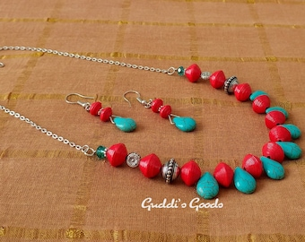 Red And Aqua Paper Bead Necklace Set, Boho, Handmade Jewelry, Wearable Art, Gift, Anniversary, Birthday