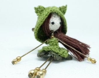 Mini doll crochet brooch, linen thread, poetic jewelry