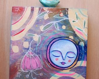 Full Moon and Bird / Mixed Media Painting
