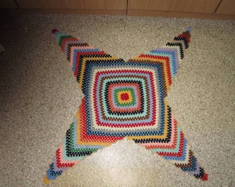 Colorful crochet rug